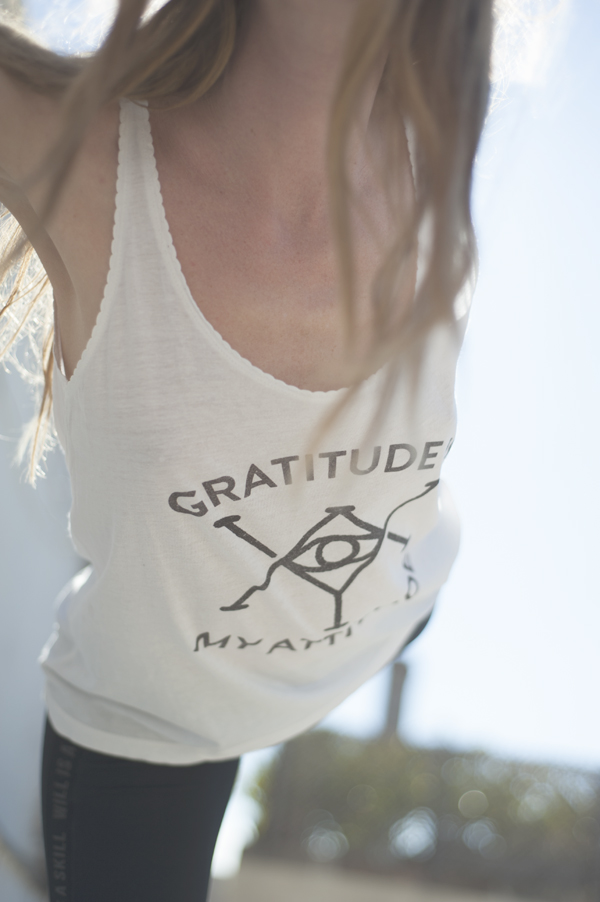 "The recycled ""Gratitude is my attitude"" top is available in our AODY Renewal collection. Check out our shop!"