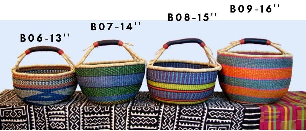 Approx. $40 - Round Market Baskets : Medium & Large : One leather bound handle