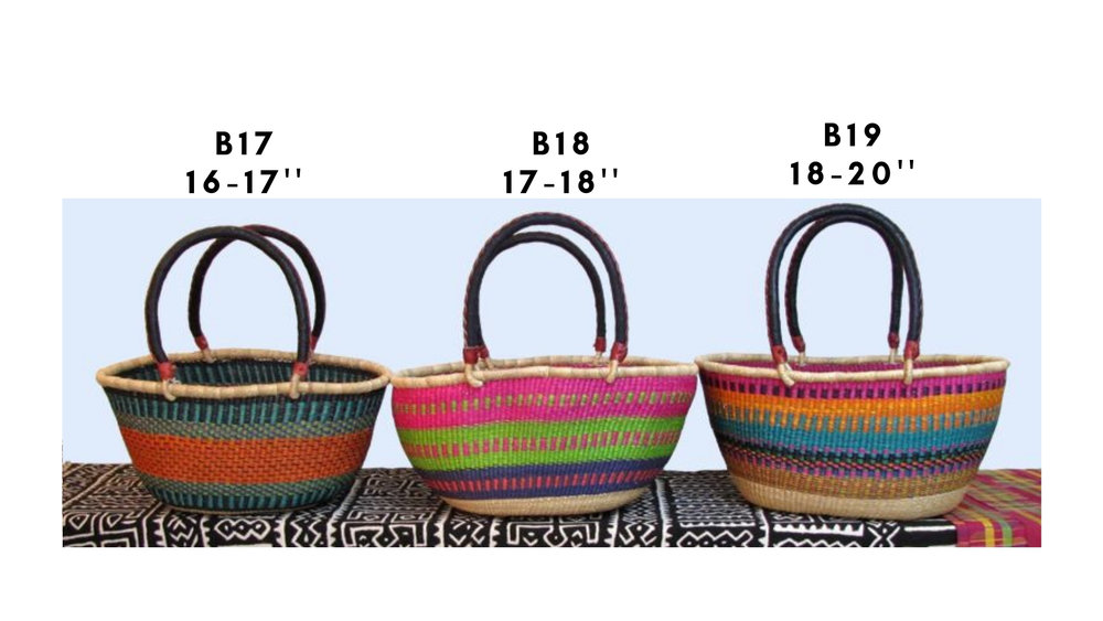 Approx. $40 - Oval Shopping Baskets : Two leather bound handles