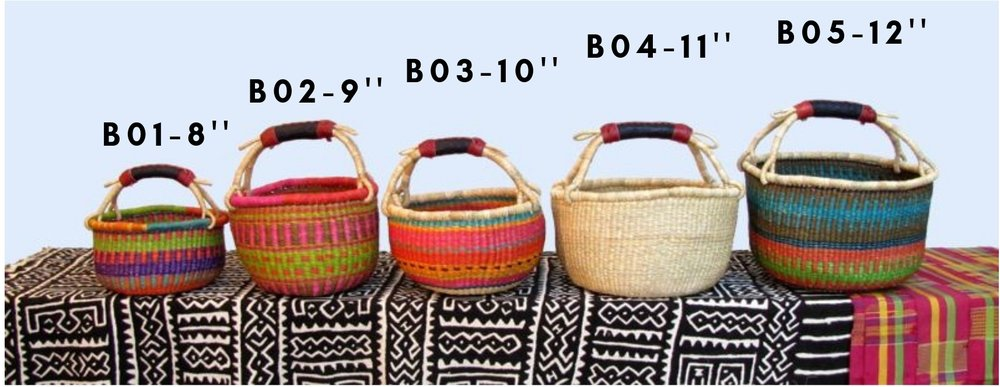 Approx. $30 - Round Market Baskets : Small : One leather bound handle