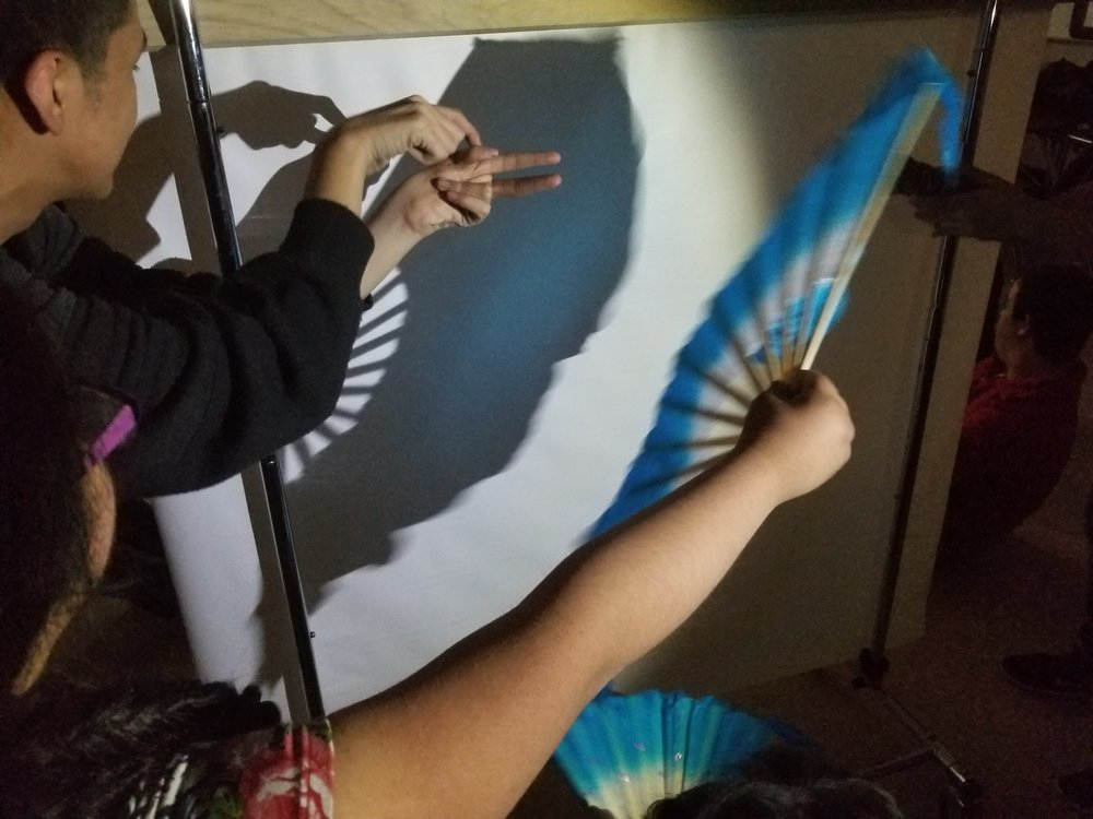 Students use plastic toy animals and a silk fan to create a shadow puppet play.