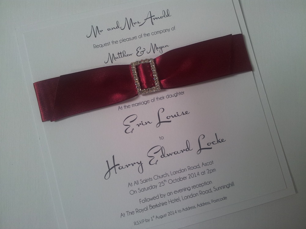 Flat Invitation, using burgundy sating ribbon and matt white card.
