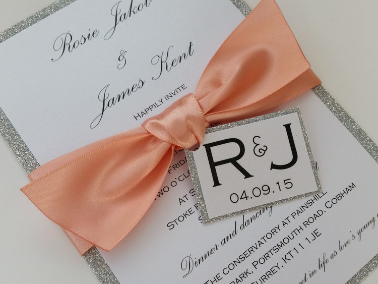 Rosie - silver glitter, satin ribbon bow wedding invitation with tag.jpg