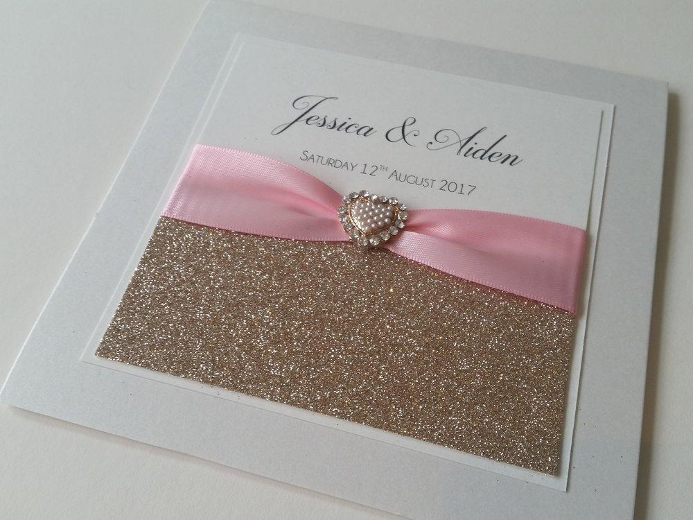 Bella - Champagne Glitter Pink Ribbon Embellishment Wedding Invitation.jpg