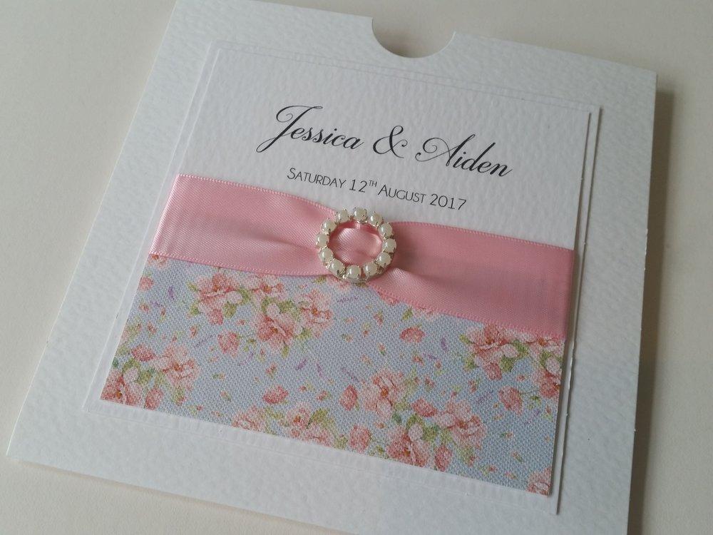 Bella - Floral Pink Ribbon Embellishment Wedding Invitation.jpg