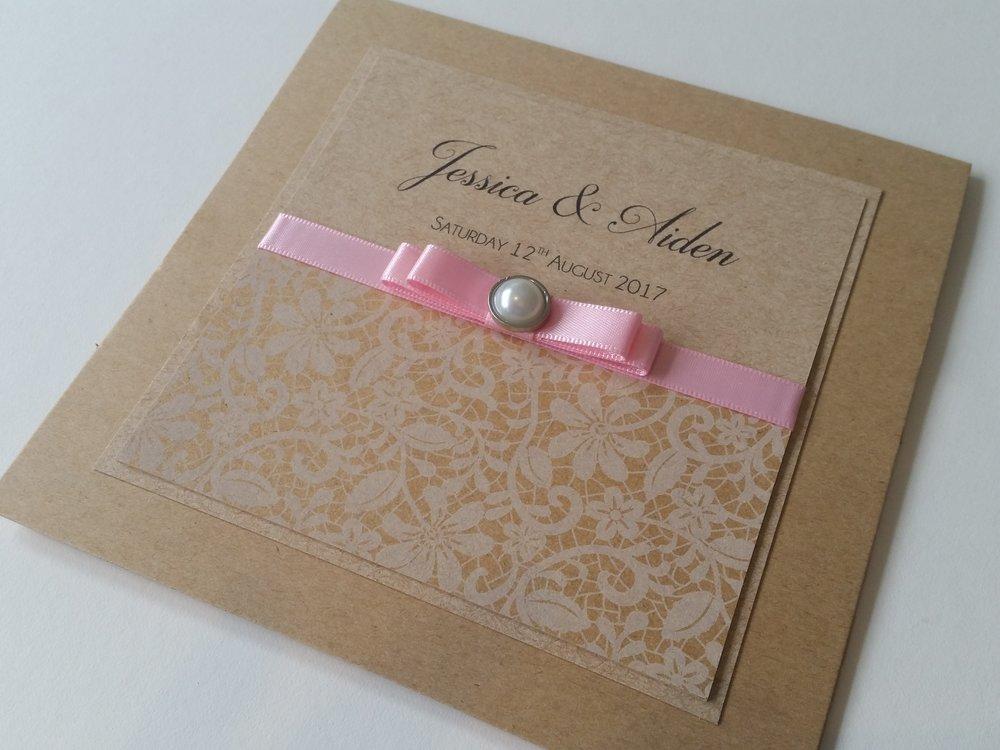 Bella - Rustic Kraft Vintage Pink Ribbon Bow Embellishment Wedding Invitation.jpg