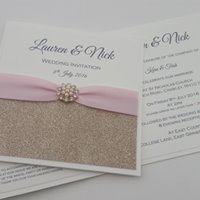 Kara - Champagne Glitter Pink Ribbon Embellishment Wedding Invitation.jpg