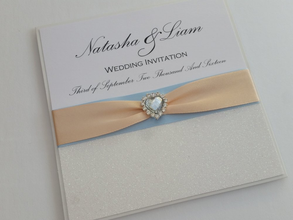 Kara - White Glittler Pink Blue Ribbon Heart Embellishment Wedding Invitation.jpg