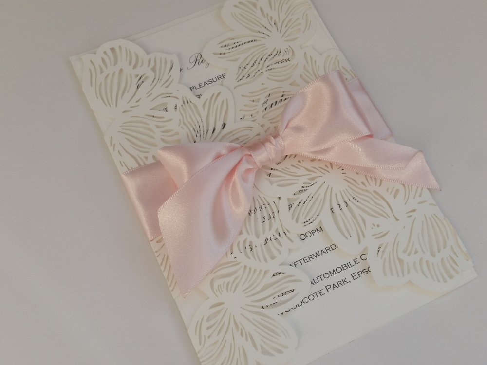 Darcy - Lasercut Pink Ribbon Bow Wedding Invitation.jpg
