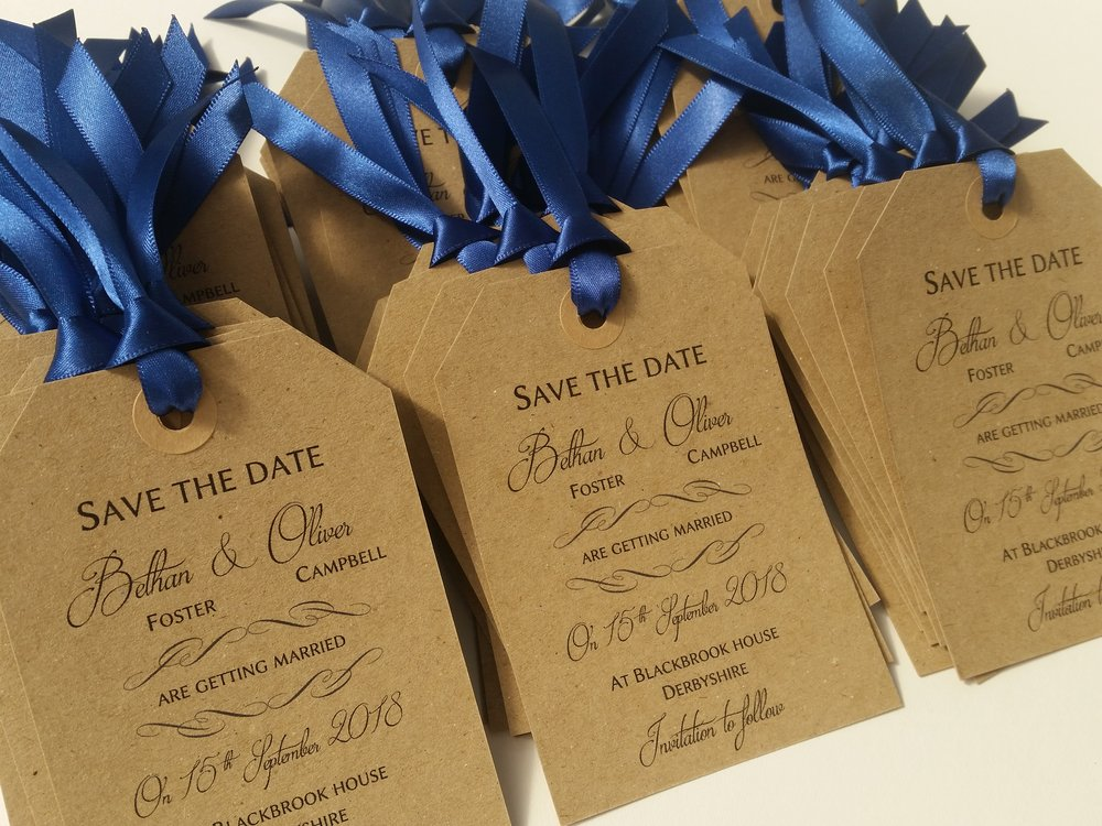 Rustic, Vintage, Save the Date Tag for Bethan & Oliver