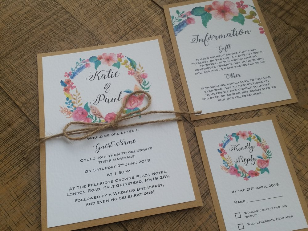 Summer - floral flower wreath rustic kraft wedding invitation (2).jpg