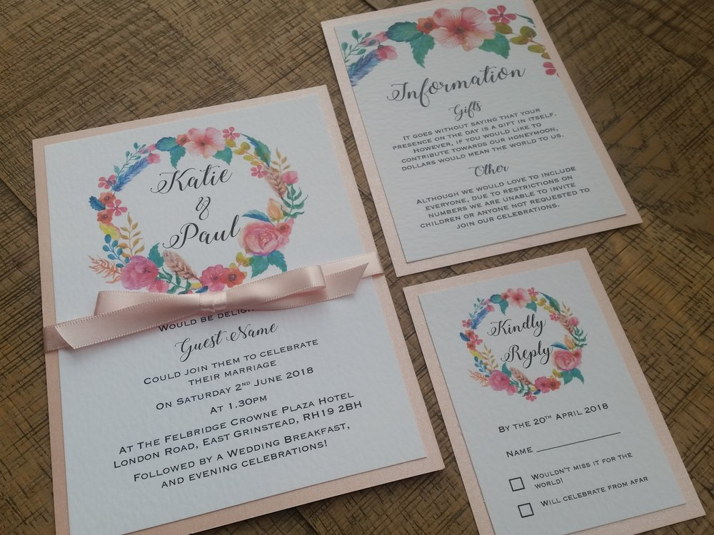 Summer - floral flower wreath rustic pink wedding invitation (6).jpg