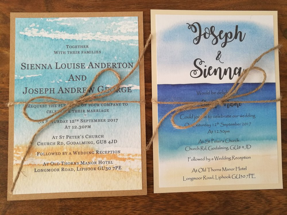 Beach themed Watercolour Wedding Invitations