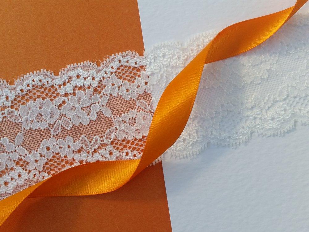 Helen - floral lace, orange pearlescent card, orange satin ribbon, hammered cardstock.jpg