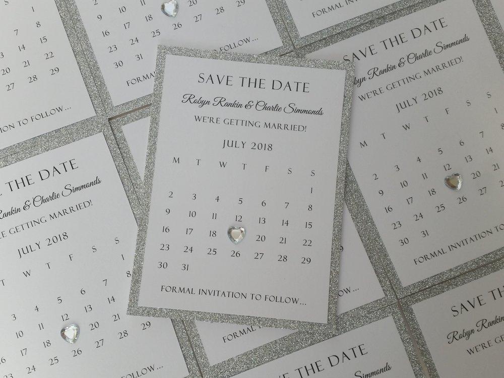 Robyn - silver glitter, crystal heart Save the Date calendar.jpg