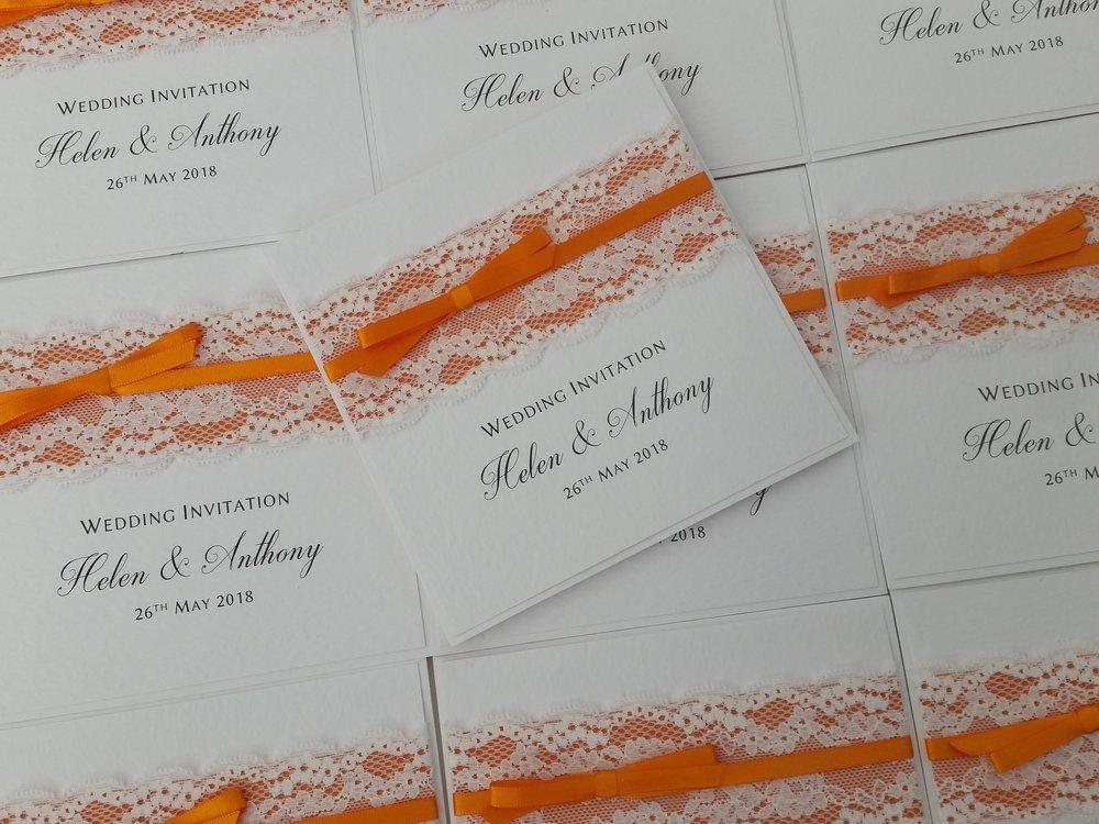 Helen - orange pocketfold wedding invitation lace orange satin ribbon1.jpg