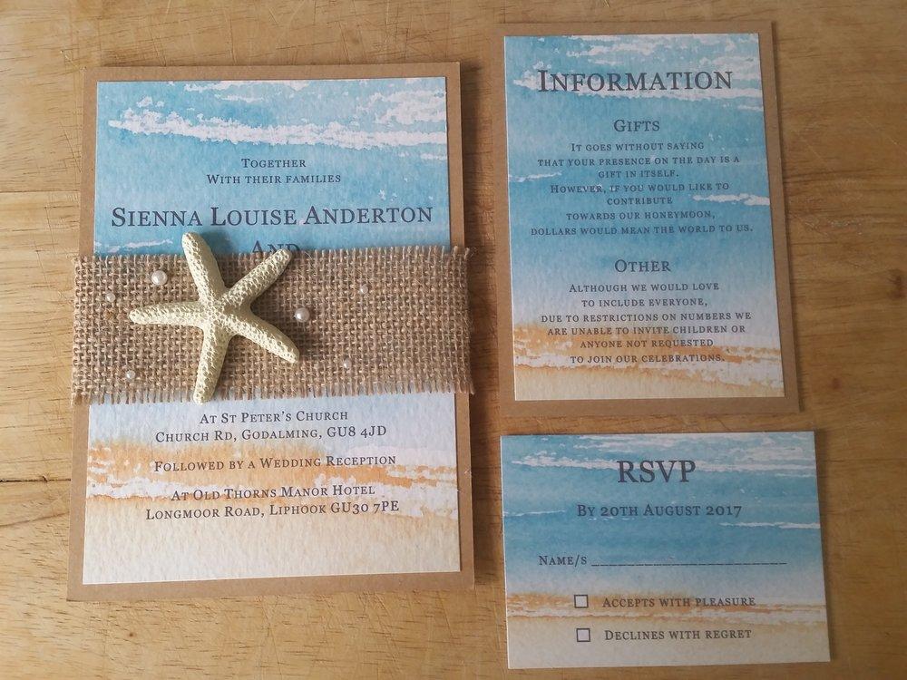 Kaia Collection - handmade beach destination themed wedding invitation burlap pearl starfish7.jpg