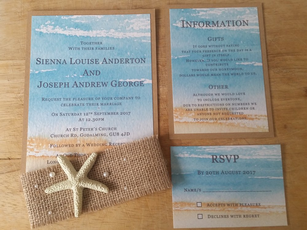 Kaia Collection - handmade beach destination themed wedding invitation burlap pearl starfish.jpg