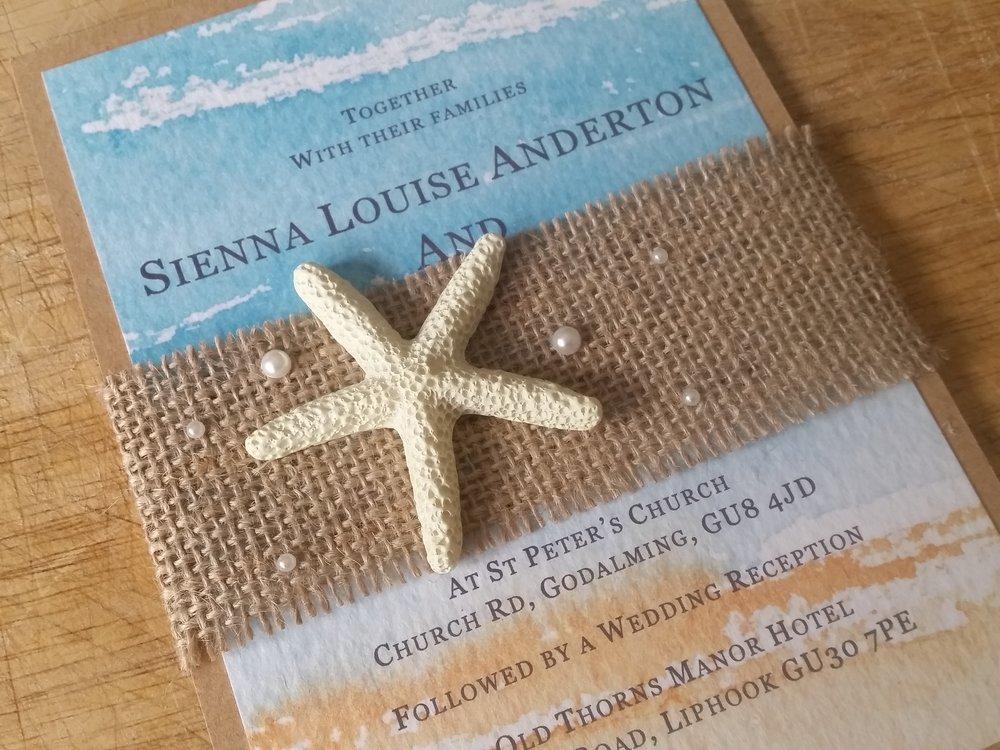 Kaia Collection - handmade beach destination themed wedding invitation burlap pearl starfish4.jpg