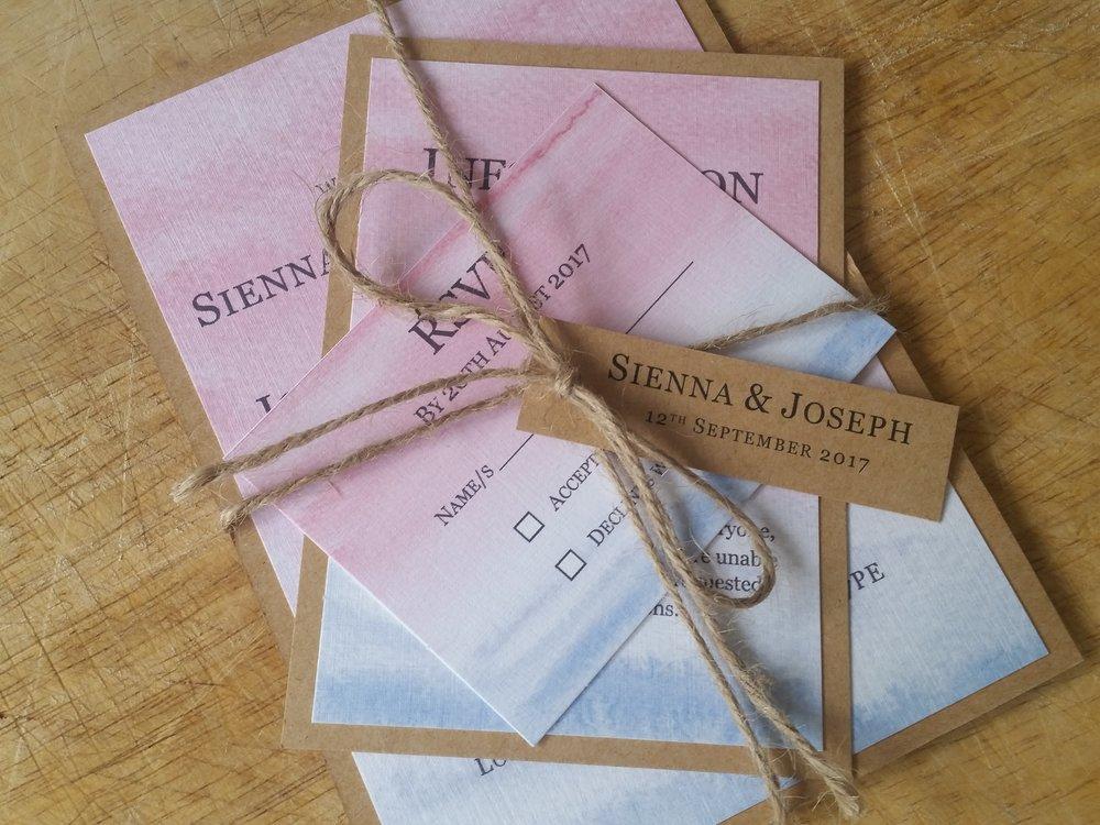 Summer Collection - handmade sea beach sky watercolour wedding invitation destination burlap string wedding tag3.jpg