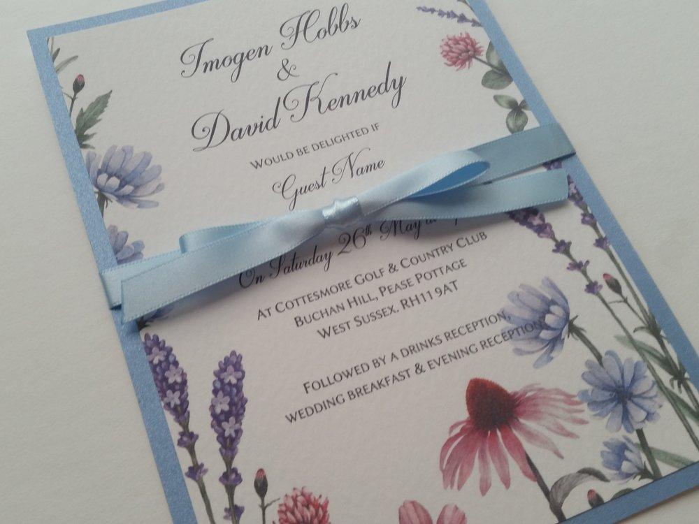 Lilac - rustic, handmade wedding invitation spring summer meadow wildflowers3.jpg
