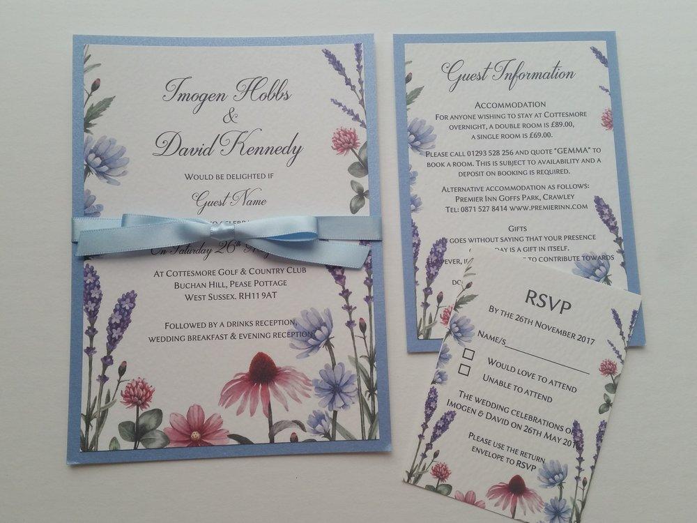Lilac - rustic, handmade wedding invitation spring summer meadow wildflowers2.jpg