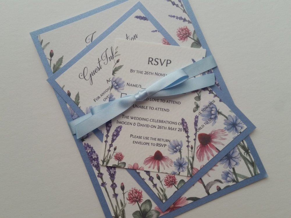 Lilac - rustic, handmade wedding invitation spring summer meadow wildflowers4.jpg