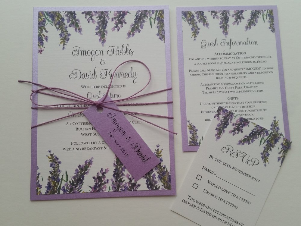 Violet Collection - lavender bouquet watercolour rustic wedding invitation string with wedding tag2.jpg