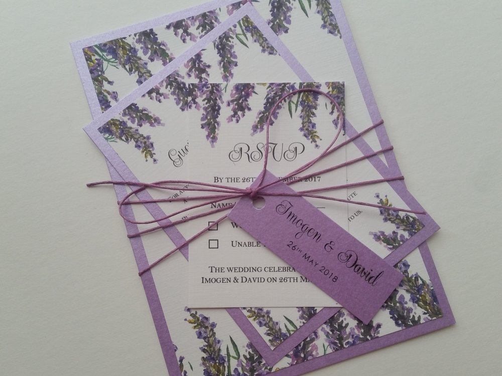 Violet Collection - lavender bouquet watercolour rustic wedding invitation string with wedding tag4.jpg