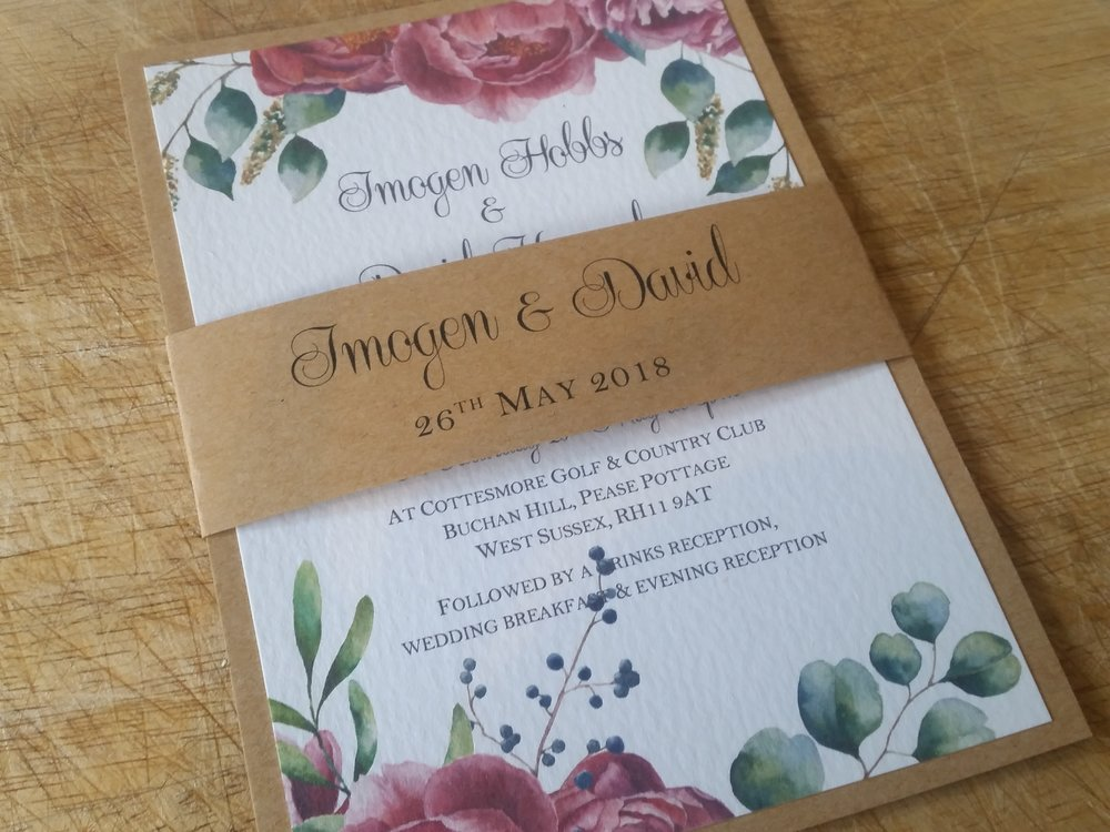 Camilla Collection - handmade vintage floral wedding invitation, decorated with eucalyptus branches, peony, berries, greenery and leaves, belly band3.jpg