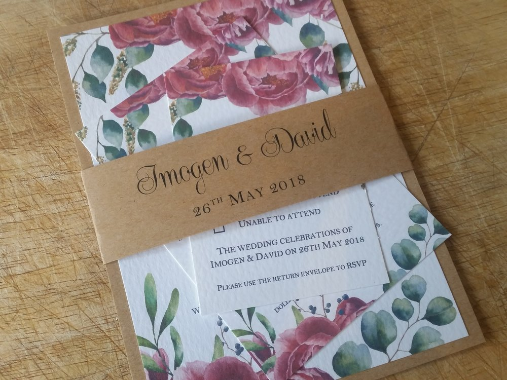 Camilla Collection - handmade vintage floral wedding invitation, decorated with eucalyptus branches, peony, berries, greenery and leaves, belly band4.jpg