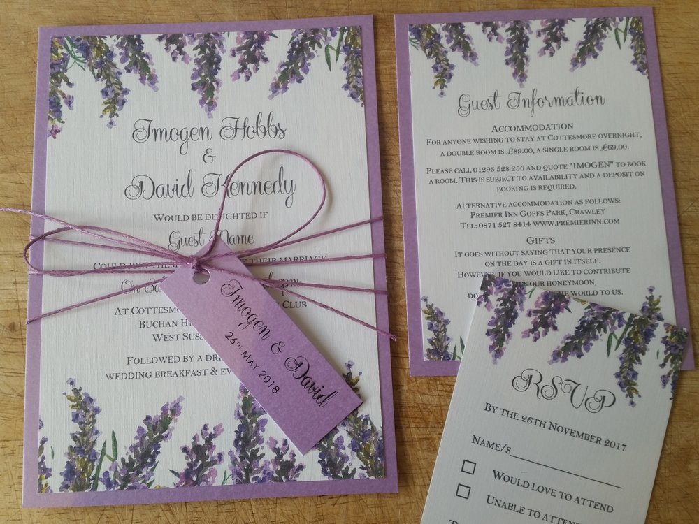 Violet Collection - lavender bouquet watercolour rustic wedding invitation string with wedding tag1.jpg