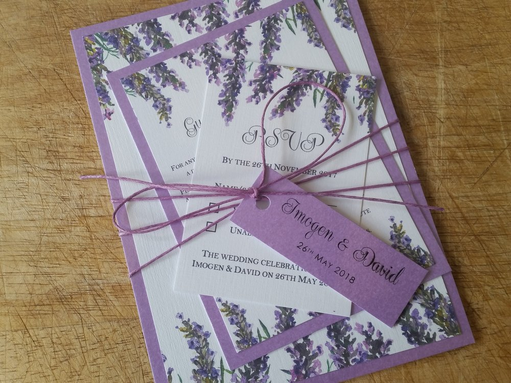 Violet Collection - lavender bouquet watercolour rustic wedding invitation string with wedding tag3.jpg