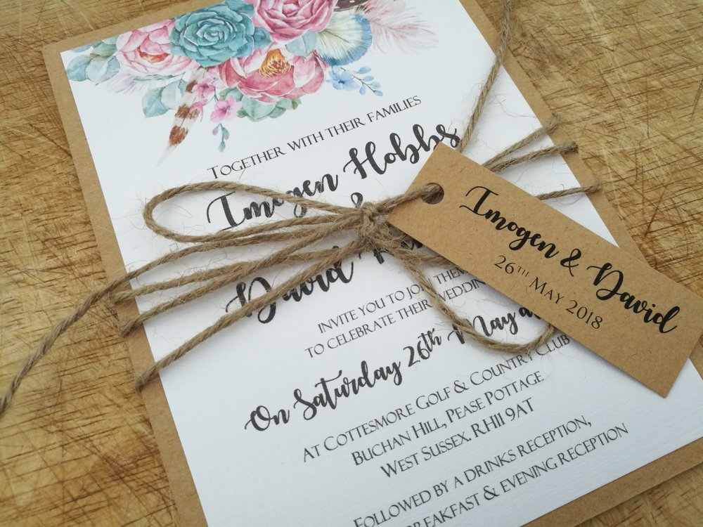 Nancy Collection - rustic vintage boho flower kraft cardstock wedding invitation burlap string tag3.jpg