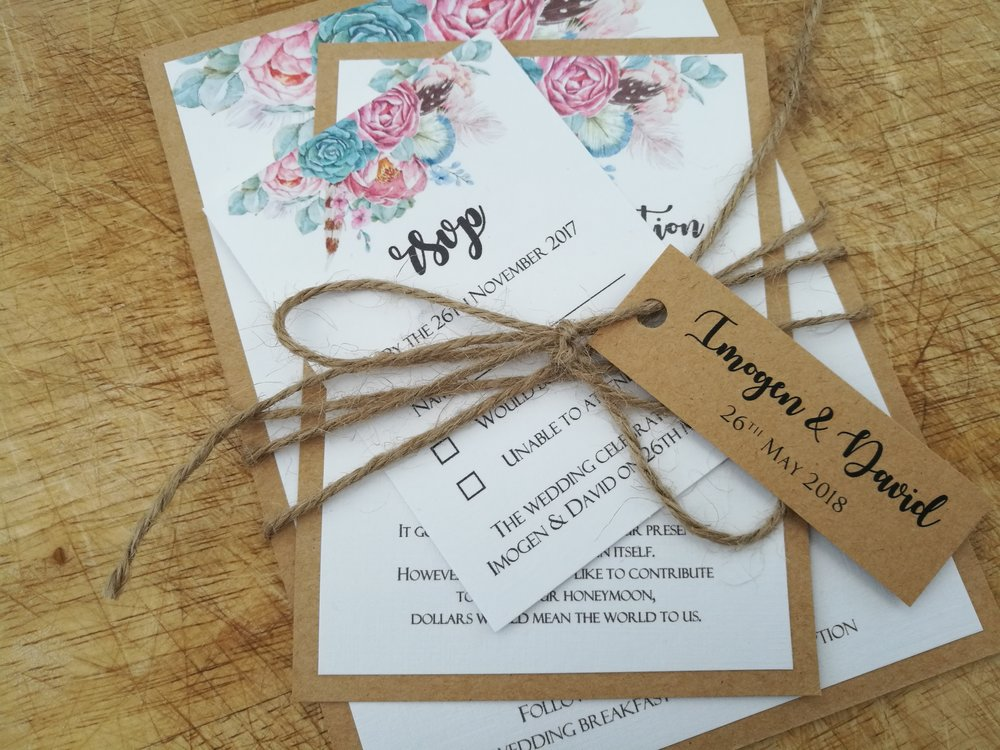 Nancy Collection - rustic vintage boho flower kraft cardstock wedding invitation burlap string tag.jpg