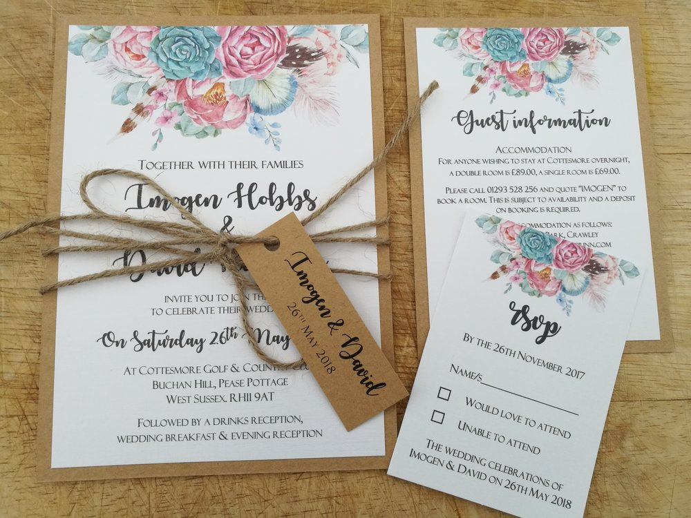 Nancy Collection - rustic vintage boho flower kraft cardstock wedding invitation burlap string tag4.jpg
