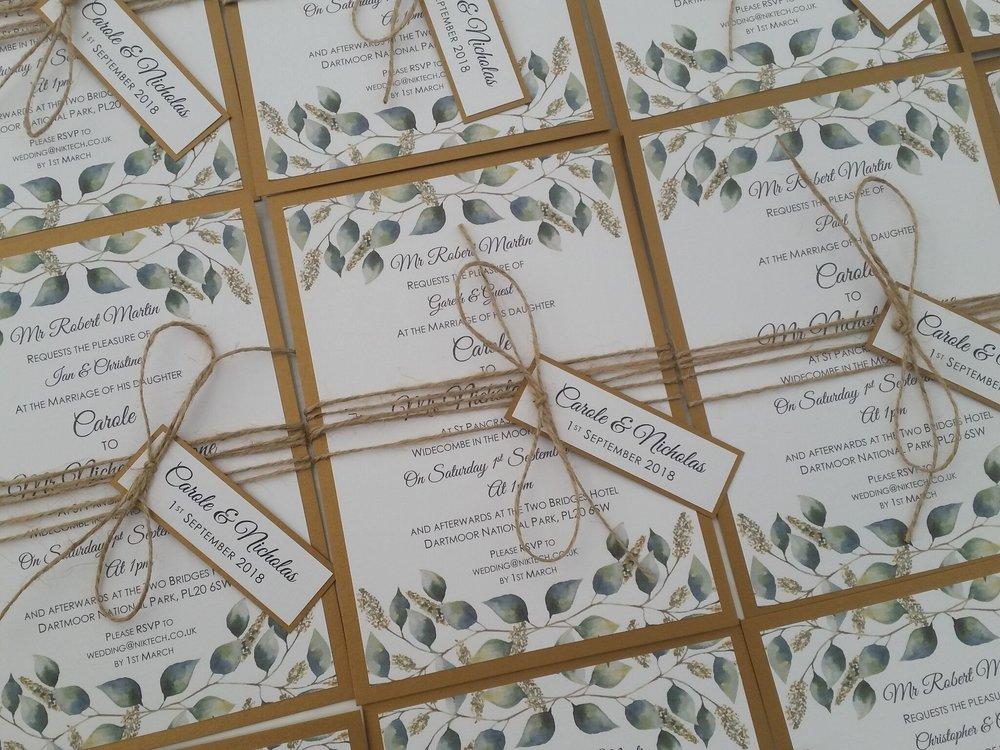 Carole - rustic, floral, gold, burlap string, wedding tag, handmade.jpg