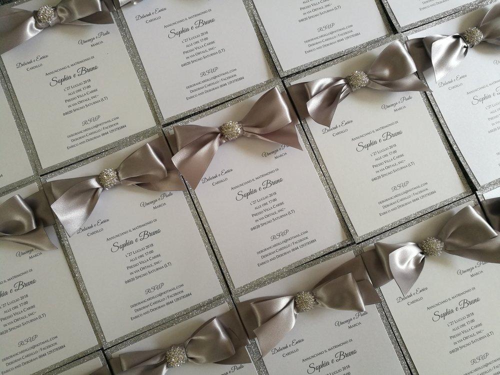 Sophia - silver ribbon, crystal embellishment cluster, wedding invitation, big bow.jpg