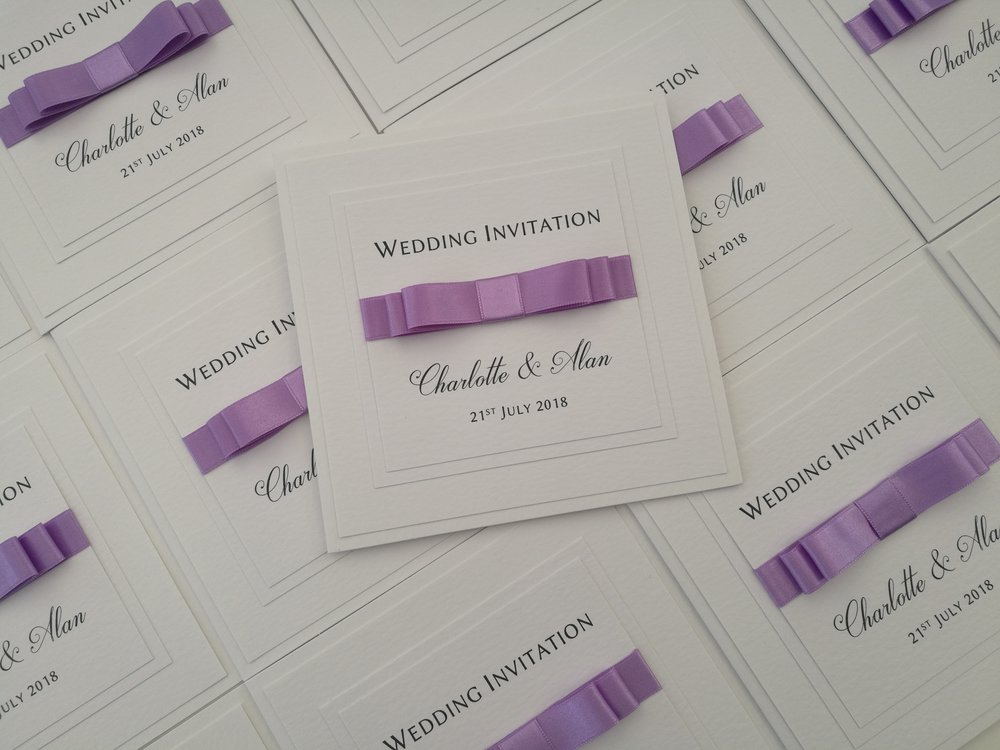 Charlie - lilac satin ribbon, handmade wedding invitation, double formal bow, hammered cardstock2.jpg