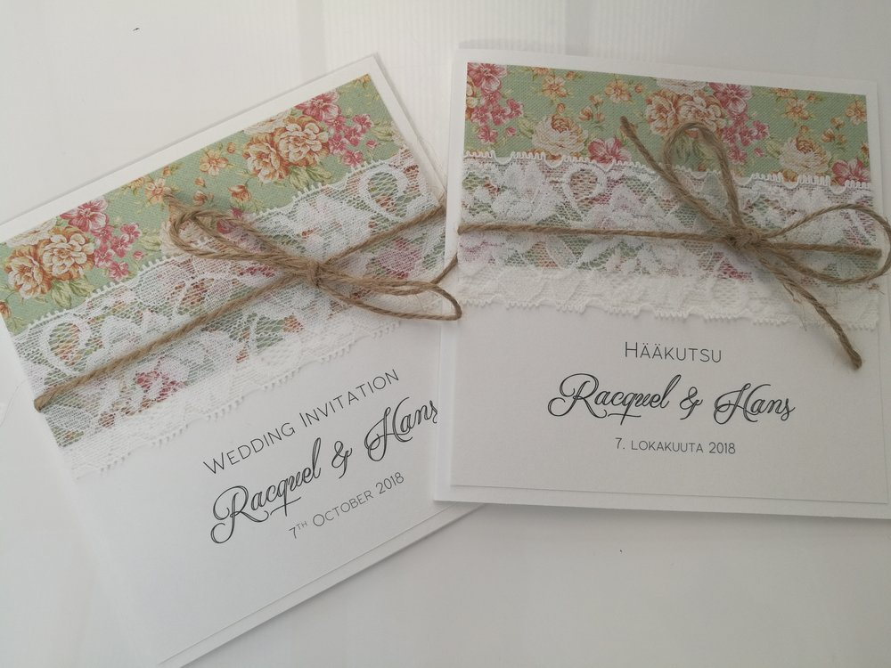 Kat, linen texture paper with a small vintage rose print, burlap string, floral lace, handmade wedding invitation2.jpg
