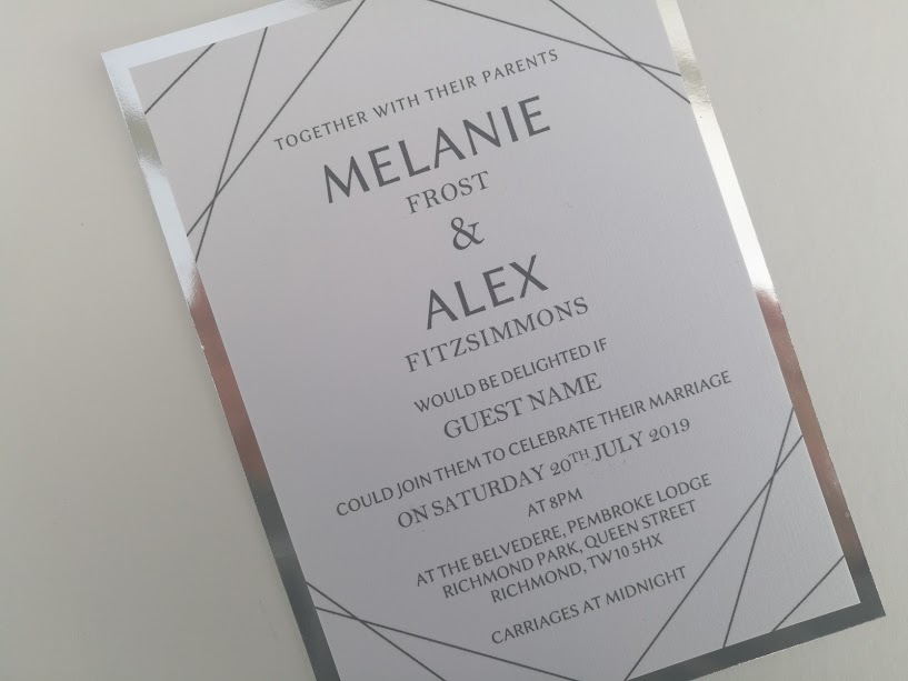 Max Collection, handmade, modern, contemporary wedding invitations, simple geometric black lines. Layered onto metallic silver cardstock3.jpg