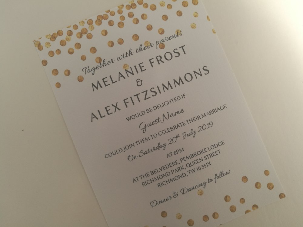 Alexa Collection - handmade wedding invitation, modern contemporary, abstract pattern of random gold dots.jpg