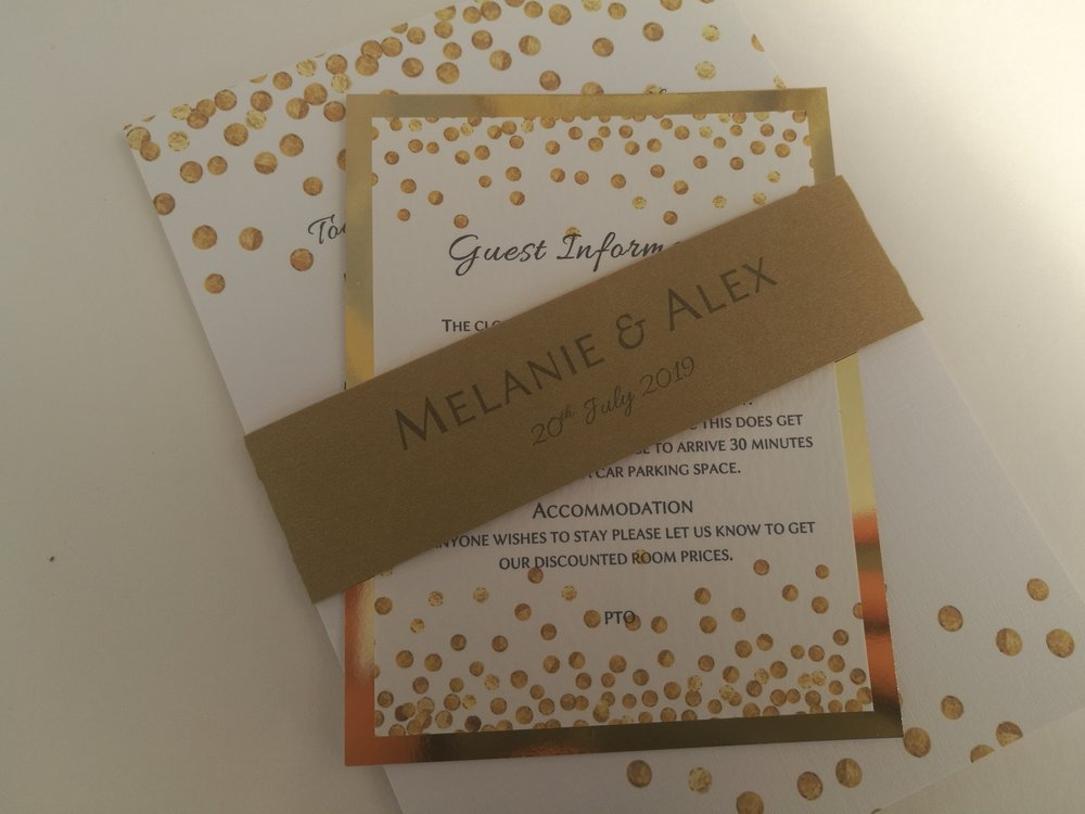 Alexa Collection - handmade wedding invitation, modern contemporary, abstract pattern of random gold dots2.jpg