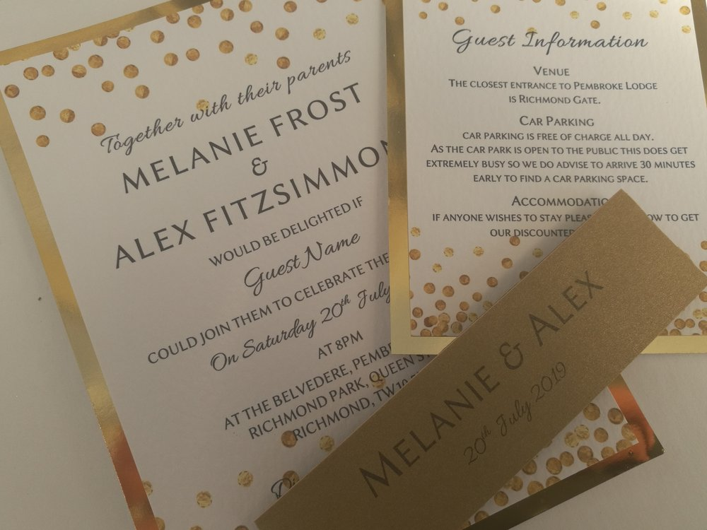 Alexa Collection - handmade wedding invitation, modern contemporary, abstract pattern of random gold dots3.jpg