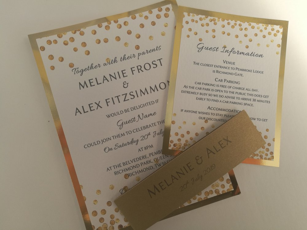 Alexa Collection - handmade wedding invitation, modern contemporary, abstract pattern of random gold dots4.jpg