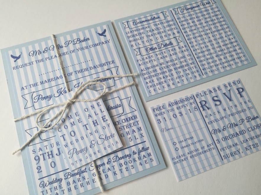 Stevie - handmade wedding invitation stripey blue and white with white string, tag, carnival.jpg