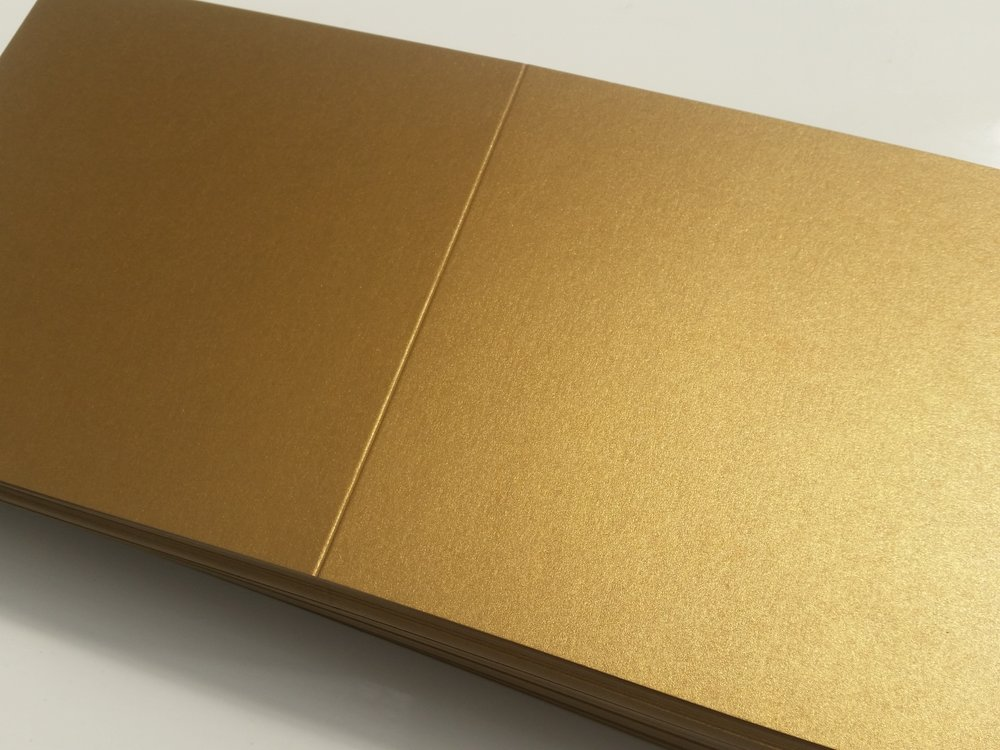 Gold pearlescent cards, handmade wedding invitations.jpg