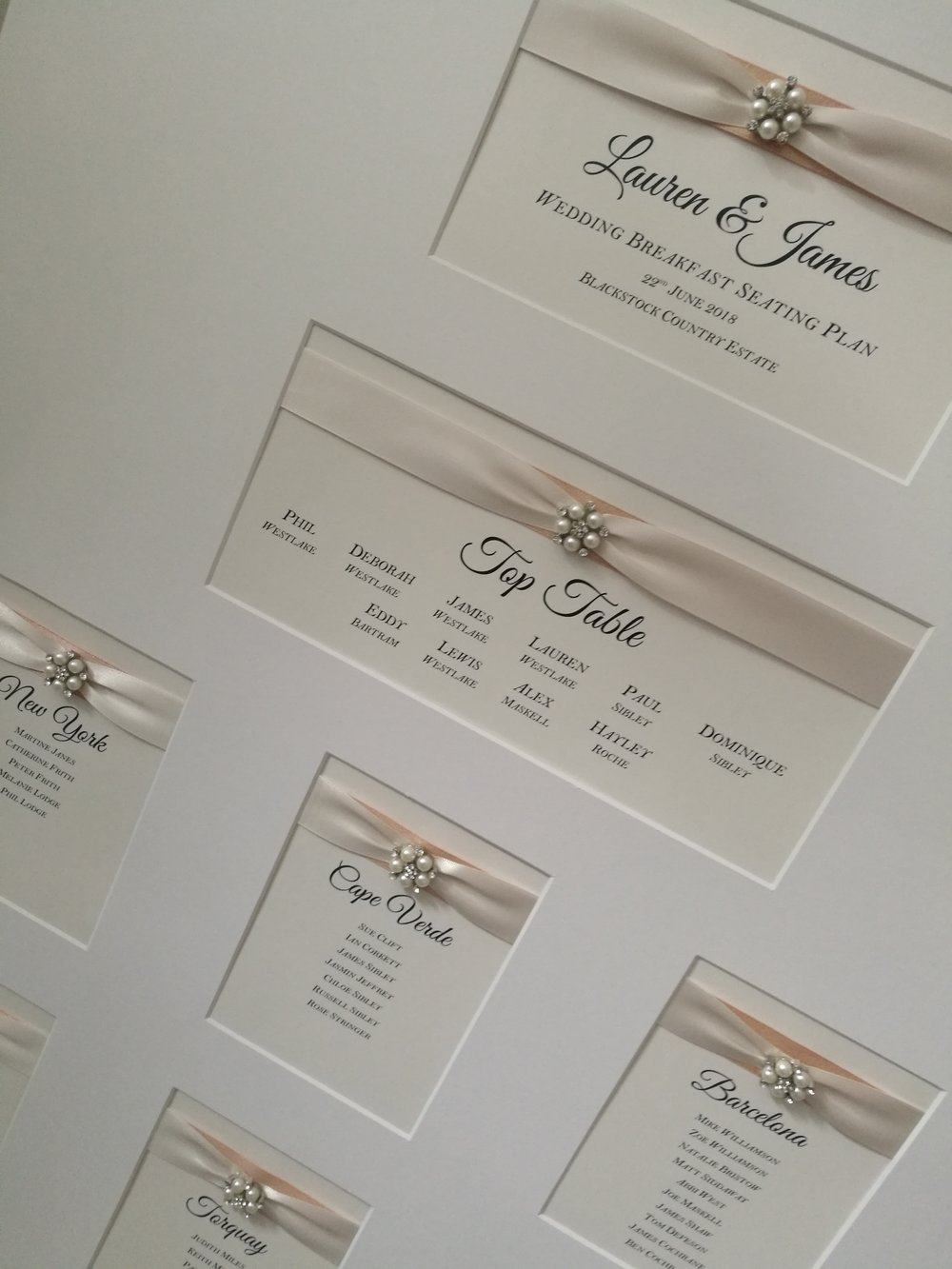Lauren - table plan handmade ivory ribbon, pearl embellishment luxury2.jpg