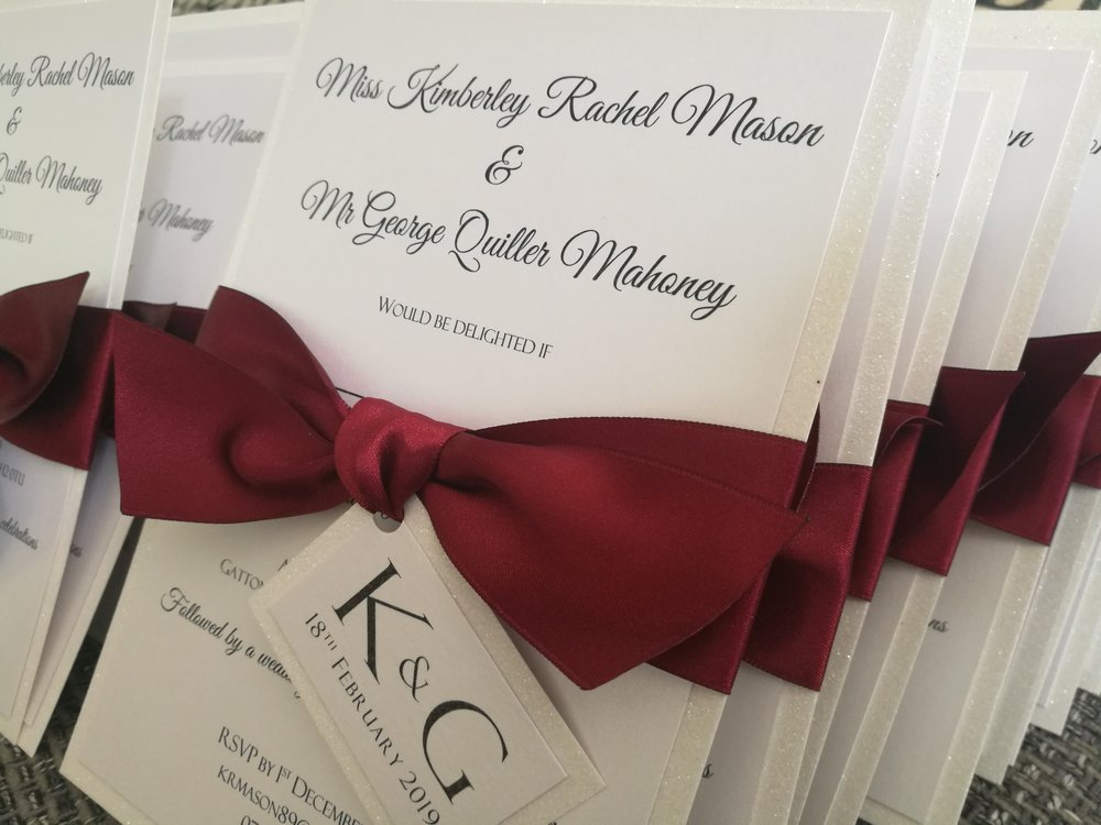 Kim - white frost glitter card with ribbon and burgundy ribbon.jpg
