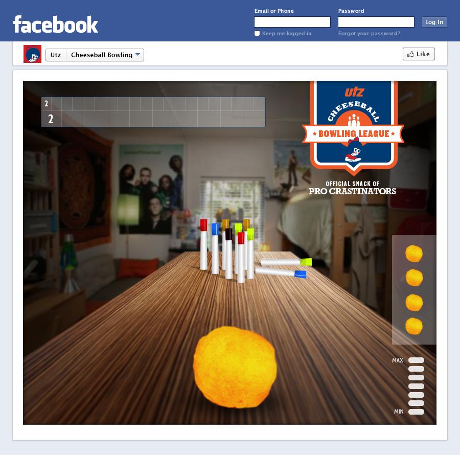 facebook Cheese Ball Bowling Game